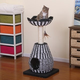 PetPals King Black and White Paper Rope Condo with Perch