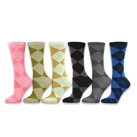 TeeHee Womens Ladies Value 6-Pack Crew Socks (Nordic)