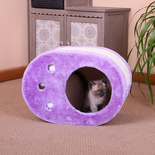 PetPals Fervor Fleece and Sisal Paw Shaped Scratcher Box (Option: Purple)