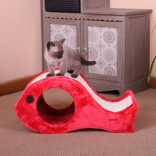 PetPals Chum Fleece and Sisal Fish Shaped Scratcher Box