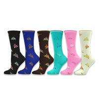 TeeHee Women's Ladies Value 6-Pack Crew Socks