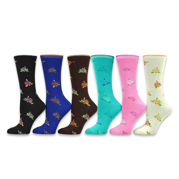e9f8cf1aae3dc Shop TeeHee Women s Ladies Value 6-Pack Crew Socks - Free Shipping ...