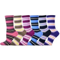 TeeHee Women's Ladies Value 6-Pack Crew, Multi Socks