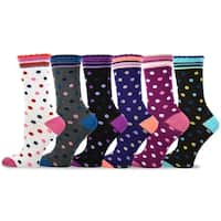 TeeHee Women's Ladies Value 6-Pack Crew, Multi Socks