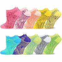 TeeHee Women's Valued 10 Pack Fashion No Show Cotton Socks