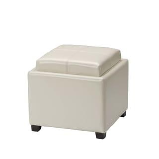 Safavieh Harrison Storage Cream Leather Tray Ottoman (As Is Item)