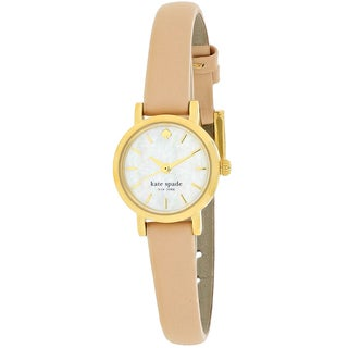 Kate Spade Women's 1YRU0372 Tiny Metro Round Beige Leather Strap Watch