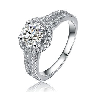 Collette Z Sterling Silver Cubic Zirconia Halo Oval Cut Ring - Clear