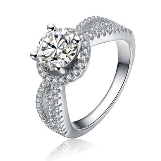 Collette Z Sterling Silver Cubic Zirconia Halo Round Cut Ring