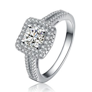 Collette Z Sterling Silver Cubic Zirconia Halo Radiant Cut Ring