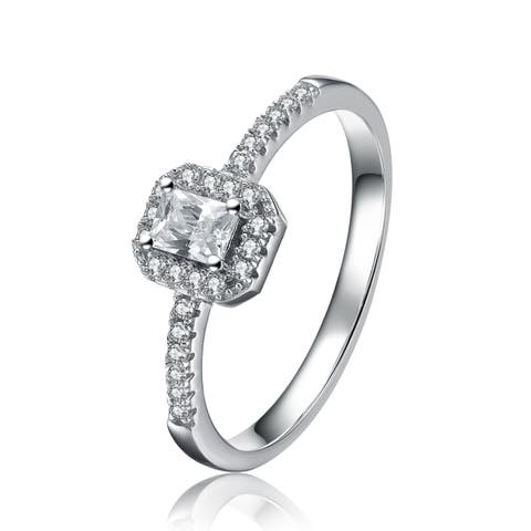 Collette Z Sterling Silver Cubic Zirconia Halo Princess Cut Ring - Clear