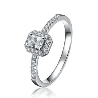Collette Z Sterling Silver Cubic Zirconia Halo Princess Cut Ring