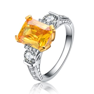 Collette Z Sterling Silver Clear and Yellow Cubic Zirconia Emerald Cut Ring