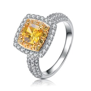 Collette Z Sterling Silver Yellow Brilliant Cut Cubic Zirconia Haloed Ring