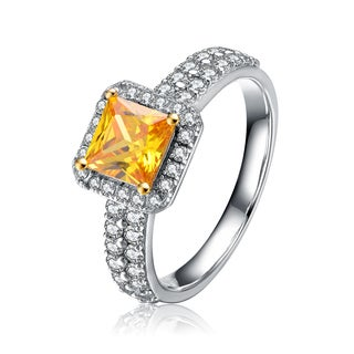 Collette Z Sterling Silver Yellow Cubic Zirconia Brilliant Cut Halo Ring (Double Band)