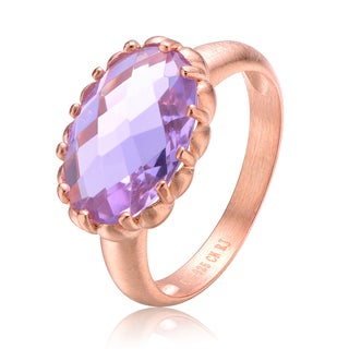 Collette Z Rose Gold Plated Purple Cubic Zirconia Oval Ring