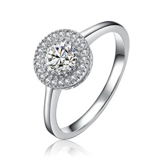 Collette Z Sterling Silver Cubic Zirconia Round Halo Ring