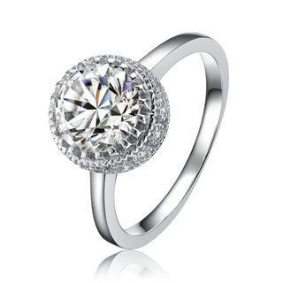 Collette Z Sterling Silver Cubic Zirconia Large Round Halo Ring