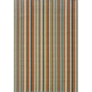 Blue Multi Striped Outdoor Area Rug (3'7 x 5'6) (As Is Item)|https://ak1.ostkcdn.com/images/products/10888056/P90009321.jpg?impolicy=medium
