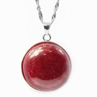 De Buman Ruby 925 Silver Pendant Necklace With 18-Inch Chain