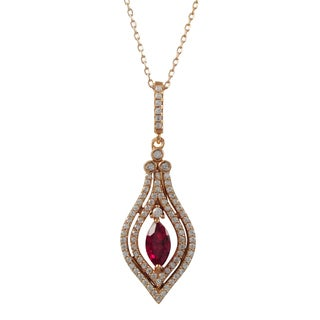Luxiro Rose Gold Finish Sterling Silver Red Cubic Zirconia Teardrop Pendant Necklace
