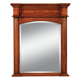 Covington 26-inch Rectangular Bathroom Vanity Mirror, Premium Pecan