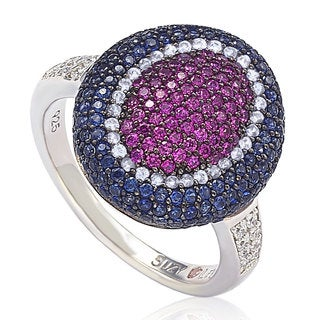 Suzy Levian Sterling Silver Cubic Zirconia American Inspired Multi Color Ring