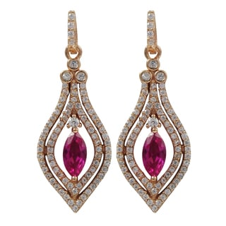 Rose Gold Finish Sterling Silver Red Cubic Zirconia Teardrop Earrings
