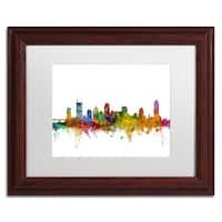 Michael Tompsett 'Nashville Tennessee Skyline' White Matte, Wood Framed Canvas Wall Art