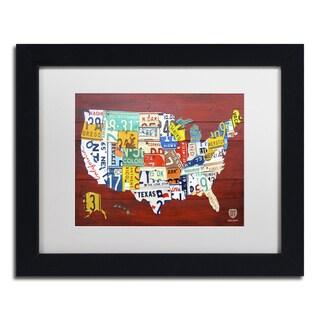 Design Turnpike 'License Plate Map USA' White Matte, Black Framed Canvas Wall Art