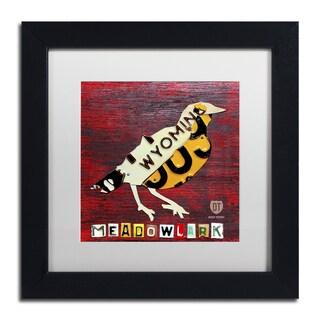 Design Turnpike 'Wyoming Meadowlark' White Matte, Black Framed Canvas Wall Art