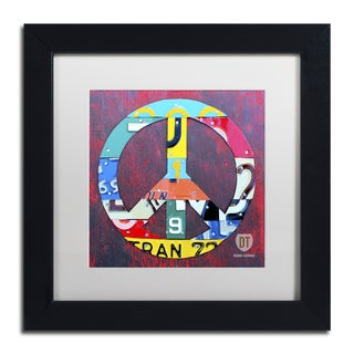Design Turnpike 'Peace' White Matte, Black Framed Canvas Wall Art