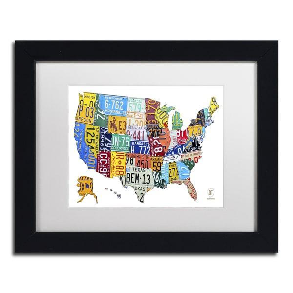 Design Turnpike 'License Plate Map USA 2' White Matte, Black Framed Canvas Wall Art