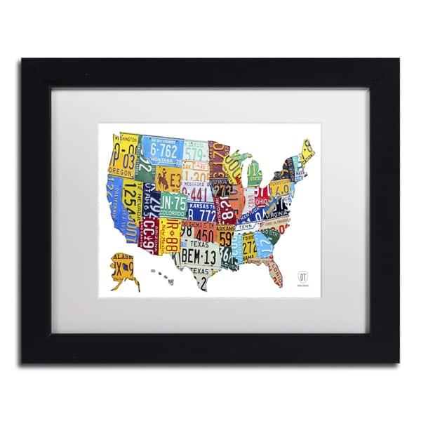 Shop Design Turnpike \'License Plate Map USA 2\' White Matte ...