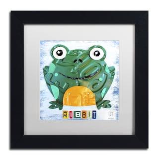 Design Turnpike 'Ribbit the Frog' White Matte, Black Framed Canvas Wall Art