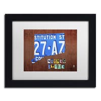 Design Turnpike 'Connecticut License Plate' White Matte, Black Framed Canvas Wall Art