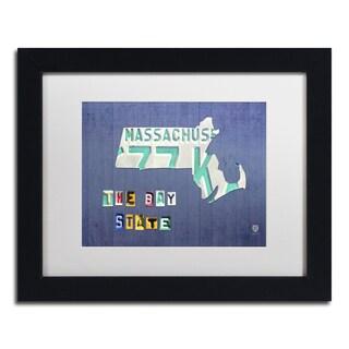Design Turnpike 'Massachusetts License Plate' White Matte, Black Framed Canvas Wall Art