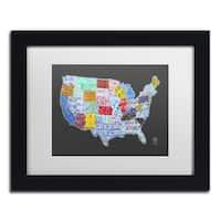 Design Turnpike 'Massive USA License Plate Map' White Matte, Black Framed Canvas Wall Art