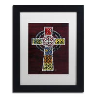 Design Turnpike 'Celtic Cross' White Matte, Black Framed Canvas Wall Art