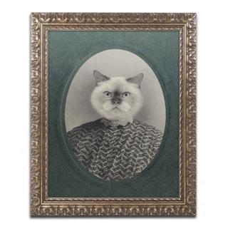 J Hovenstine Studios 'Cat Series #1' Gold Ornate Framed Canvas Wall Art