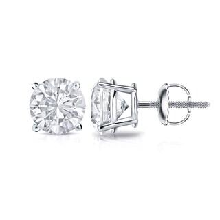 Auriya Platinum 3/4ct TDW 4-Prong Screw-Back Round Diamond Stud Earrings (H-I,SI2-SI3)