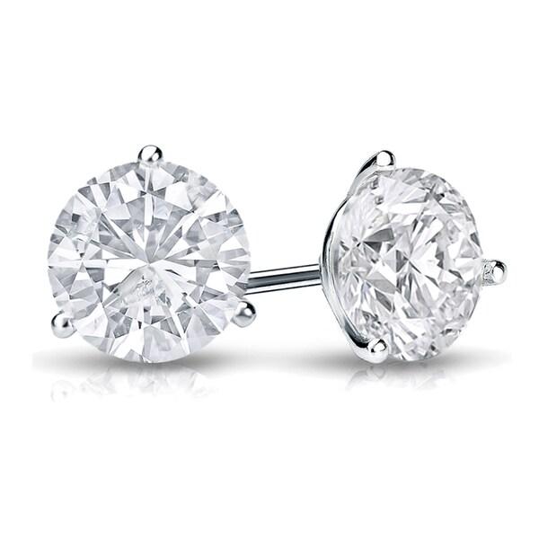 7290ec3be2d5ce Auriya Round Diamond Stud Earrings 3/5 carat TW 14k Gold 3-Prong Martini