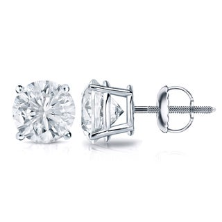 Auriya Platinum 1ct TDW 4-Prong Screw-Back Round Diamond Stud Earrings (H-I,SI2-SI3)
