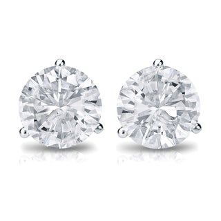 Auriya 14k Gold 3/4ct TDW 3-Prong Screw-Back Round Diamond Stud Earrings (H-I,SI2-SI3)