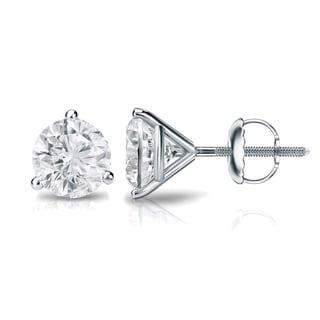 Auriya 18k Gold 1/2ct TDW 3-Prong Screw-Back Round Diamond Stud Earrings (H-I,SI2-SI3)