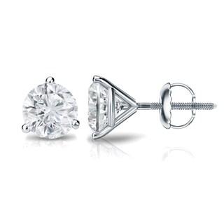 Auriya Platinum 1/2ct TDW Round 3-Prong Martini Diamond Stud Earrings