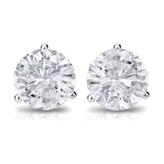 Auriya Platinum 3/4ct TDW 3-Prong Screw-Back Round Diamond Stud Earrings (H-I,SI2-SI3)