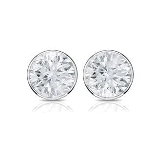 Auriya 14k Gold 1/2ct TDW Bezel Screw-Back Round Diamond Stud Earrings (H-I,SI2-SI3)