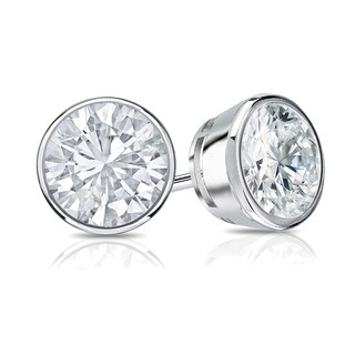 14k Gold 3/4ct TDW Bezel Set Round Diamond Stud Earrings by Auriya - 0.75ct - White H-I