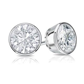 Auriya 14k Gold 3/4ct TDW Bezel Screw-Back Round Diamond Stud Earrings